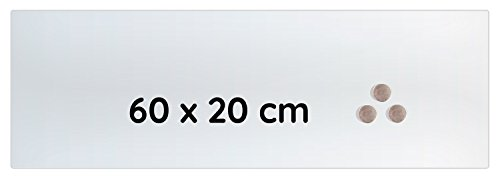 Lüllmann Memoboard Glas Magnettafel 60x20x0,4cm Glastafel Glasboard Whiteboard Wandtafel Magnet-Board (607400 Glastafel 60x20x0,4cm, weiß Milchglasoptik) 20 Boards