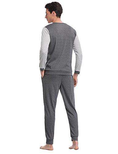 Aibrou Herren Schlafanzug Pyjama Baumwolle Lang Zweiteilig Nachtwäsche Set Langarm Rundhals/V Ausschnitt Blau/Grau Grau-1