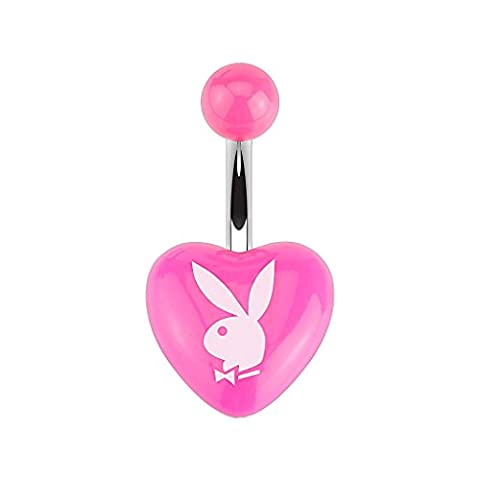 Playboy Bunny Printed Acrylic Heart Belly Bar (Pink)