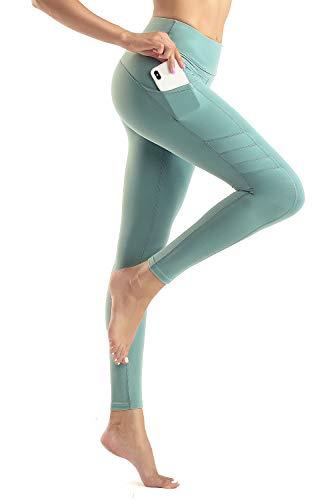 Wirezoll Legging Sport Femme Avec Poches Yoga Fitness Gym Taille Haute, Vert, S