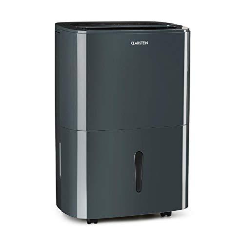 Klarstein DryFy20 Deshumidificador de Aire • Secadora de reformas • 420 W • 20 L/día • Espacio Ideal: 40-50 m² (125 m³) • Filtro Nylon • DrySelect • Modo silencioso • Modo silencioso • 45 dB • Gris