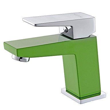 Miaoge contemporain Vert A Grade ABS Plastice un trou Poignée simple Laiton robinet de lavabo de salle de bain