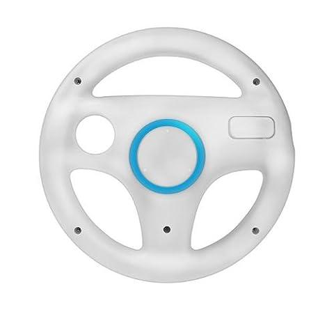 booEy® Lenkrad Wheel für Nintendo WII und Wii U Mario Kart weiß (Wii Wheel)