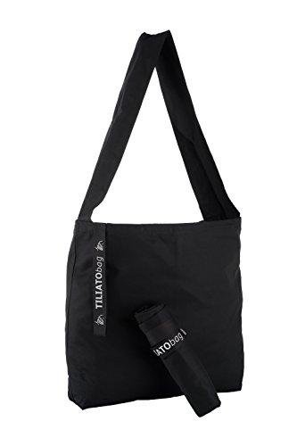 TILIATObag = Faltbeutel / Shopper - nicht einschneiden & edel - BIO-Baumwolle / Made in Germany / schwarz / großräumig (3 volle Ordner) = Beutel für unterwegs und minimalistische Tasche (Bio-shopper)