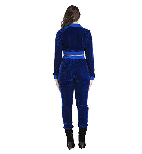 Sentao Donna Tuta Da Ginnastica 2 Pezzi Sportivo Felpa Giacca Crop Tops Manica Lunga +Pantaloni Blu zaffiro