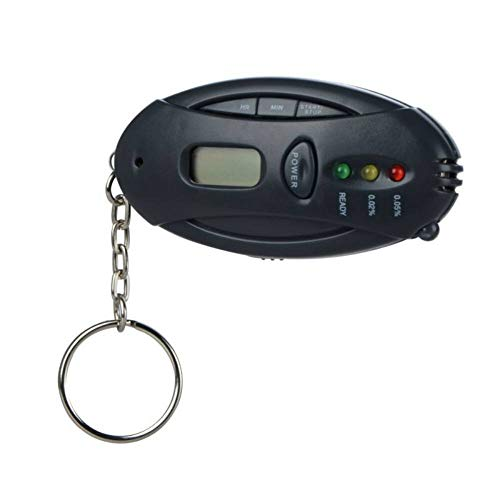 J&J Taschenuhr, tragbar, Schlüsselanhänger mit Alcool Tester Oval Digital Batterie LCD-Display