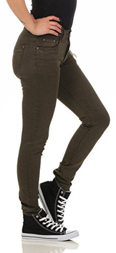 10489 Fashion4Young Damen Skinny Slimline Hose Damenhose Stretch Übergrössen 36-50 Dunkelgrün