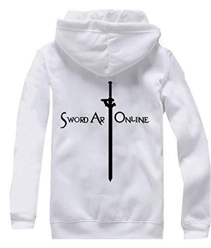Kostüm Klein Sao - Cosstars Anime Sword Art Online Kirito SAO Hoodie Jacket Cosplay Kostüm Zipper Pullover Jacke Outwear Sweatshirt Mantel Weiß-4 L