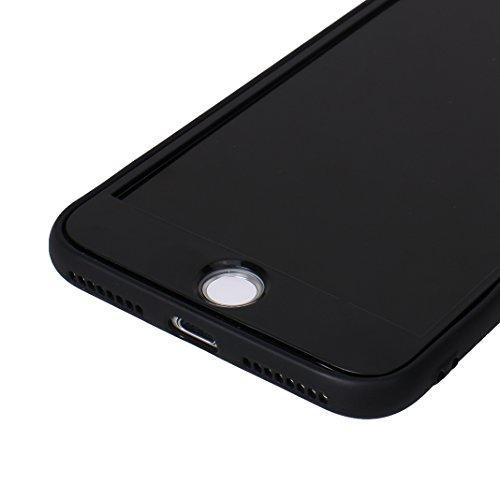 Coque iPhone 7 Plus Hybride Case, Coque iPhone 8 Plus, Moon mood® 360 Degres Protector Housse en Plastique PC Rigide + Souple TPU Bumper Arrière Étui pour Apple iPhone 8 Plus Coque de Protection Antic Noir