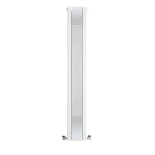 Hudson Reed Sloane Radiatore Termoarredo Verticale di Design Bianco con Specchio - Termosifone d'Arredo Moderno - Riscaldamento di Lusso - 901W – 1800 x 265 mm