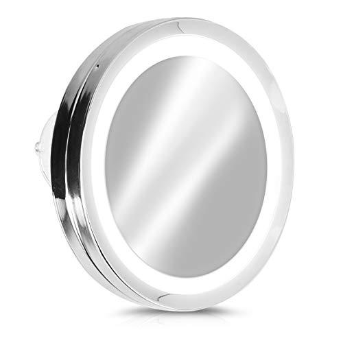 Navaris Vergrößerungsspiegel mit LED Beleuchtung Saugnapf - Spiegel mit 5 Fach Vergrößerung - Licht Badspiegel Makeup Kosmetikspiegel Silber