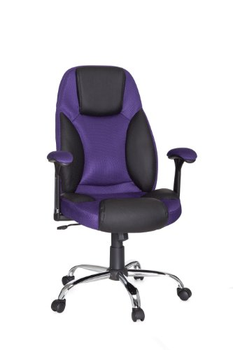 Amstyle Imola Design Director's Swivel Office Chair Fabric / Faux Leather Two-Tone Black / Purple