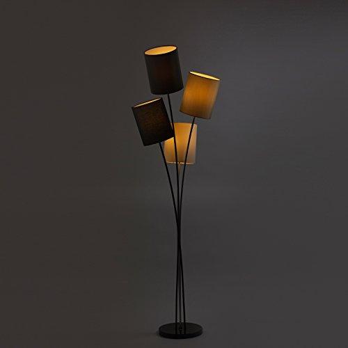 DL-designerlampen - Stehlampe schwarz grau weiß beige 160 cm hoch - Stehleuchte mit 4 Lampenschirmen, LED Leselampe geeignet 4 X E14, Modern Lampenschirm für Wohnzimmer und Büro - Metall und Stoff