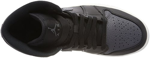 Nike Air Jordan 1 Mid, Chaussures de Basketball Homme Noir (Black/Dk Grey-Summit White 041)