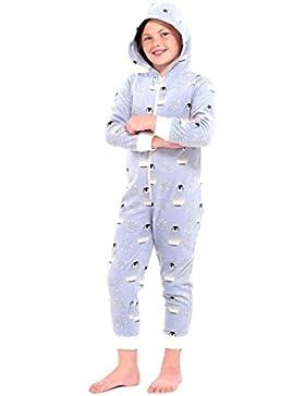 Mädchen / Jungen Schlafoverall Pinguin hellblau