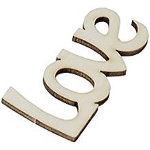 "qtimber 10002138madera letras cm), diseño con texto en inglés ""Love"" Pino Natural 6x 3cm"