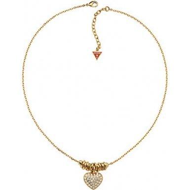 Guess Damen-Halskette Sweetly Stacked Edelstahl vergoldet 34 Zirkonia farblos 45+5 cm UBN11315