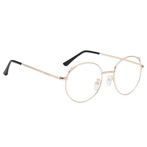Fenteer Unisex Retro Runde Metallrahmen Klare Linse Brille Metall Brillengestelle - Roségold, M