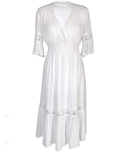 Kim-zy Spitzenkleid, Weiß, Boho-Stil, einfarbig, Midi-Länge, Empire-Stil - DE 46 Uk20 Weiß -