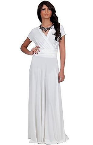 KOH KOH® Plus Size Damen Elegant Maxikleid Flügelärmel Crossover Cocktail