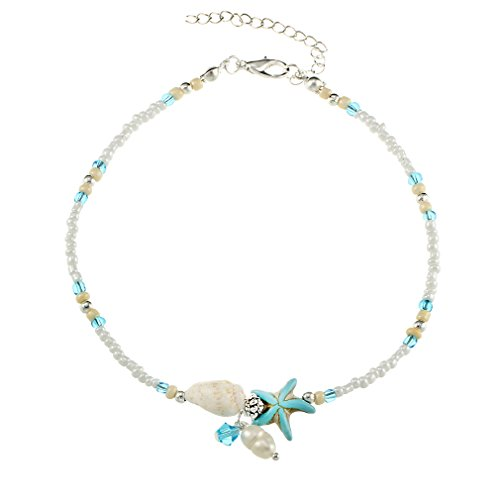 KUHRLRX Sommer Strand Stil Fußkettchen Vintage Handmade Boho Conch Starfish Perlen Anhänger Knöchel Armbänder Einfache Schmuck Zubehör