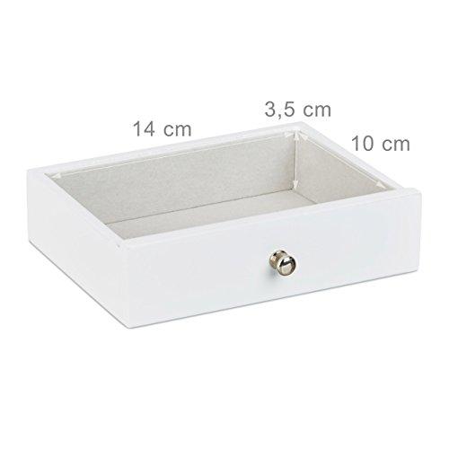 Relaxdays Schmuckkästchen mit Fotodeckel HBT: 9,5 x 18,5 x 13,5 cm kleiner Schmuckkasten mit Ringfach als Schmuckaufbewahrung für Ketten und Ohrringe Schmuckschatulle mit Schubfach und Spiegel, weiß - 4