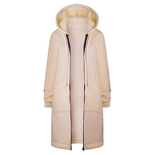 Xmiral top outwear donna felpa con cappuccio con cerniera aperta felpa con cappuccio giacca lunga (3xl,5- cachi)