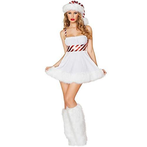 TUWEN WeihnachtskostüM SüßE Sexy White Christmas KostüM Cosplay Party Leistung Legen Erwachsene Damen Alle GrößE