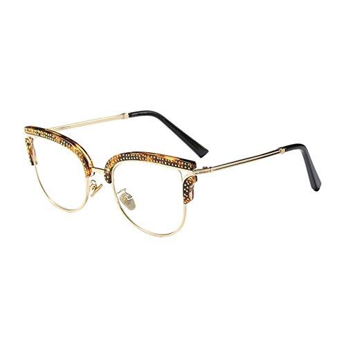 Hzjundasi Semi-Rimless Metall Rahmen Irregulär Persönlichkeit Eye Glasses Chic Niet Klare Linse Halber Rahmen Brillen Nicht-Verschreibung Im Freien Optisch Brille für Damen