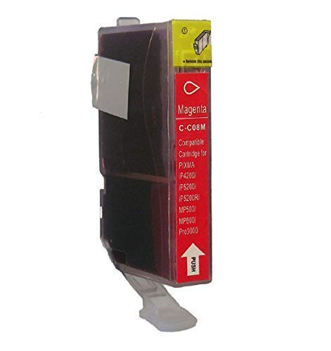 1 Tintenpatrone mit Chip für Canon Magenta CLI-8BK Pixma IP3300 IP3500 IP4200 IP4200IP4300 IP4500 IP5200 IP5200 IP5300 IP6600 IP6700D MP500 MP510 MP520 MP530 MP610 MP800 MP810 MP830 MP970 IX4000 IX5000 MX700 MX850 Pro9000 Rot (Canon Mp970 Pixma)