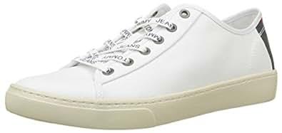 Tommy Jeans Light Textile Low, Scarpe da Ginnastica Basse Donna, Bianco (White 100), 40 EU Hilfiger Denim