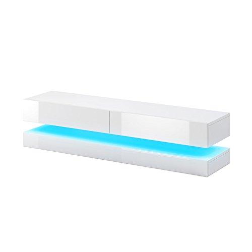 Aviator - mobiletto porta tv sospeso / supporto tv sospeso a parete (140 cm, bianco opaco / pannelli frontali bianco lucido con luci led blu)