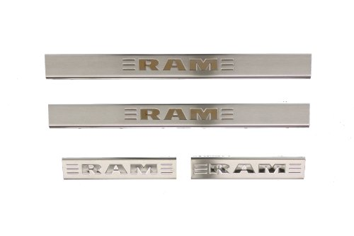 Genuine Dodge RAM Accessories 82212428AB Stainless Steel Door Sill Guard with RAM's Head Logo by Mopar -