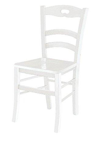 ARREDinITALY Set 2 sedie Clarissa con Sedile Legno Finitura Shabby Bianco Opaco