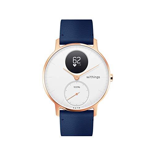 Nokia health Steel HR Rose Gold Reloj Conectado, Unisex Adulto, Cuero Azul + Silicona Gris, 36mm