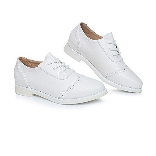Chaussure Femme de Ville à Lacets Cuir Platforme Blanc