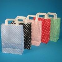 250 Papiertragetaschen Papiertüten Einkaufstüten Papier farbig bunt mit weißen Punkten Made in Germany 5 3 Verschiedene Größen zur Auswahl (Schwarz, 22+11x31cm)
