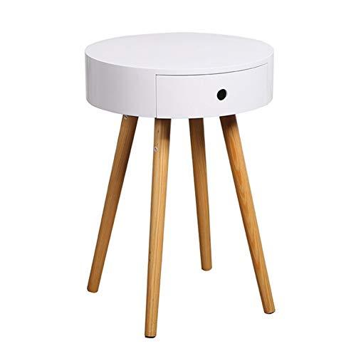 ZHAOYONGLI Table D'appoint Basse Tables Basses Café Informatique Table Petite Table Basse Canapé Côté Table Ronde Chambre À Coucher Chevet Mini Coin Mobile ( Couleur : Blanc , taille : 32*38*56.6cm )