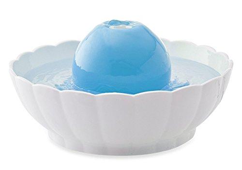 Trinkbrunnen aus Keramik ORB AURA blau-weiss 2,1 Liter (Pet-gefiltert-wasser-brunnen)