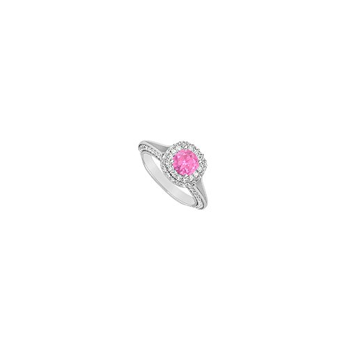 2 CT Engagement Ring CZ and Created Pink Sapphire in 14K White Gold - Engagement Cz Ring 2ct