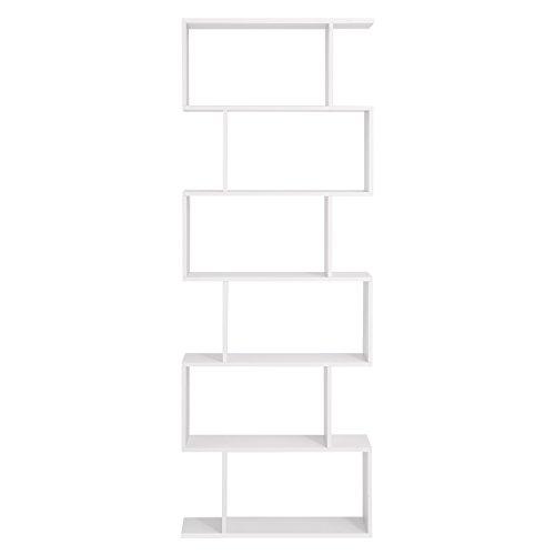 VASAGLE Bücherregal Regal aus Holz, Standregal zur Vorführung, freistehende Schrank, Dekoregal mit 6 Ebenen, Weiß LBC61WT