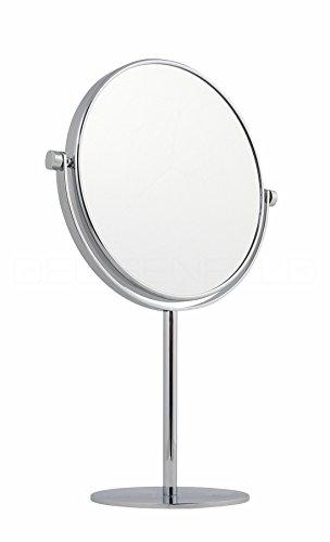 DEUSENFELD SK1020 - Doppel Stand Kosmetikspiegel Standspiegel Rasierspiegel Make-up Spiegel, 10x Vergrößerung + Normalspiegel, Ø20cm, Schwere Qualität, verchromt