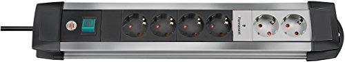 Brennenstuhl Premium-Alu-Line Technik, Steckdosenleiste 6-fach - Steckerleiste aus Aluminium (inkl. 2 permanenten Steckdosen) Farbe: alu / schwarz