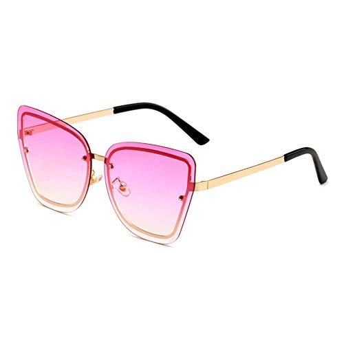 HQMGLASSES Women's Tone Frameless Sonnenbrille Gold Frame Cat Eye Oversized Designer Sun Brillen UV 400 Protected Driving Vacation Glasses,GoldFrame/GradientPink