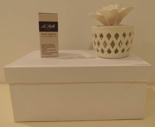Bomboniere con confetti profumatore in ceramica e legno con rosa in gesso scatola cartoncino e profumazione inclusa