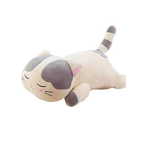 QueenHome Katze gefüllte Tier schläfrig Katze Form mit niedlichen gefüllten Plüschpuppe mit Plüsch Spielzeug Kitty Puppe weichen Daunen Baumwolle Kissen für Kinder Kinder Erwachsene als Geschenk (Plüsch-spielzeug Kitty Soft)