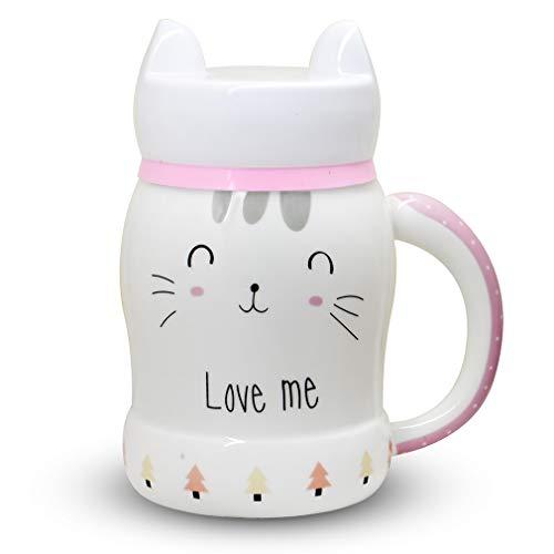 echer aus Keramik mit lustigen Kunststoff-Ohren Deckel, Geschenkidee für verrückte Katzen, Frauenliebhaber, Mädchen und Mädchen Plastic Lid ()