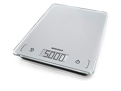Soehnle Page Comfort 100 Digitale Küchenwaage, Gewicht bis zu 5 kg (1-g-genau), Haushaltswaage mit Sensor-Touch, elektronische Waage inkl. Batterien, große LCD-Anzeige, silber