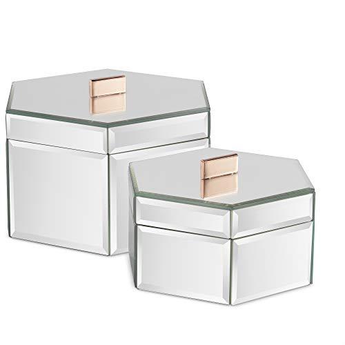 Beautify Set aus 2 gespiegelten Schmuckschatullen - Organiser/ordentlicher Schreibtisch / - Silber - Geschenkidee - für Schmuck und Accessoires (Verspiegelt)