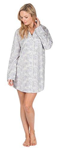Damen Baumwolle Boyfriend-Style Gewoben Geknöpft nachthemd Nachthemd Nachtkleid Grau